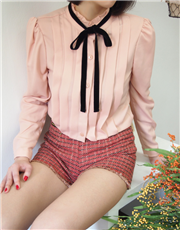 Pleated Blouse With Ribbon Tie